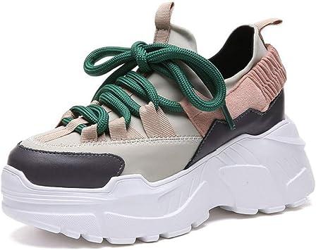 ASTAOT Aumento De Altura 6 Cm Zapatos para Correr para Mujer Zapatillas De Deporte Rojas Y Blancas Zapatos Deportivos para Mujer Al Aire Libre Calzado Deportivo De Amortiguación De Tacón Alto-Beige: Amazon.es: