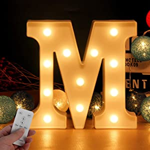 Newly Upgrade Led Letters Numbers Lights Battery Powered,26 Alphabet & Arabic Numerals 0-9 Warm White Decorative Marquee Lamps with Remote Control for Switch Timer Dimmable for DIY Decor (Letter-M)