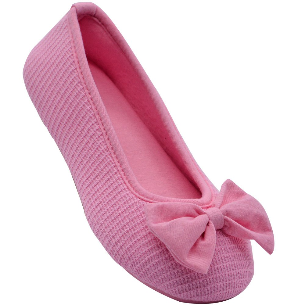 Wishcotton Women's Comfortable Memory Foam Ballerina Slippers Breathable Cotton House Indoor Shoes (XL, Pink)