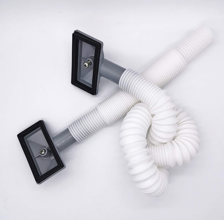 diam/ètre 26mm Tube longueur 220-550mm Tube de d/ébordement pour /évier extensible Taille: 78x42mm Interface carr/ée diam/ètre int/érieur: 21mm 2x Tuyaux de d/ébordement