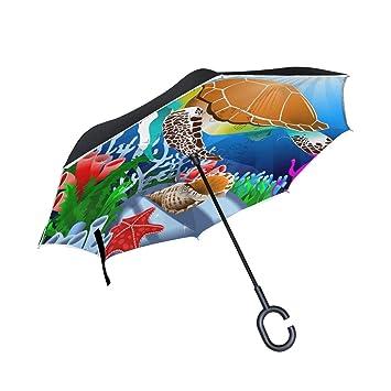 ALINLO Paraguas invertido mágico bajo el Agua para Tortuga de mar, Doble Capa de Paraguas