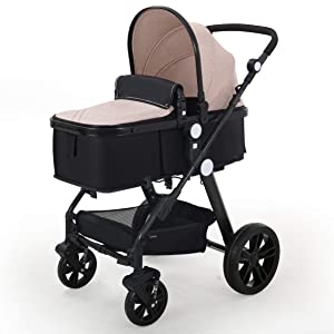 Baby Stroller Newborn Carriage Infant Reversible Bassinet to Luxury Toddler Vista Seat for Boy Girl Compact Single All Terrain Babies Pram Strollers Add Stroller Cover, Cup Holder, Net