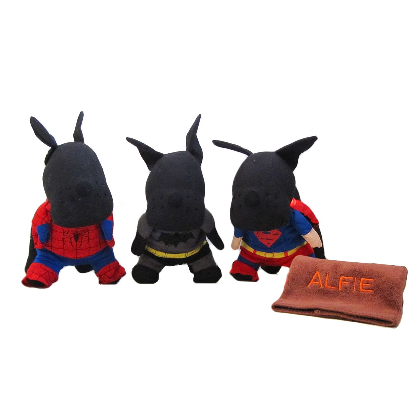 Alfie Pet by Petoga Couture - Superhero Costume 3-Piece with Microfiber Fast-Dry Washcloth Set: Batman, Spiderman and Superman - Size: Small