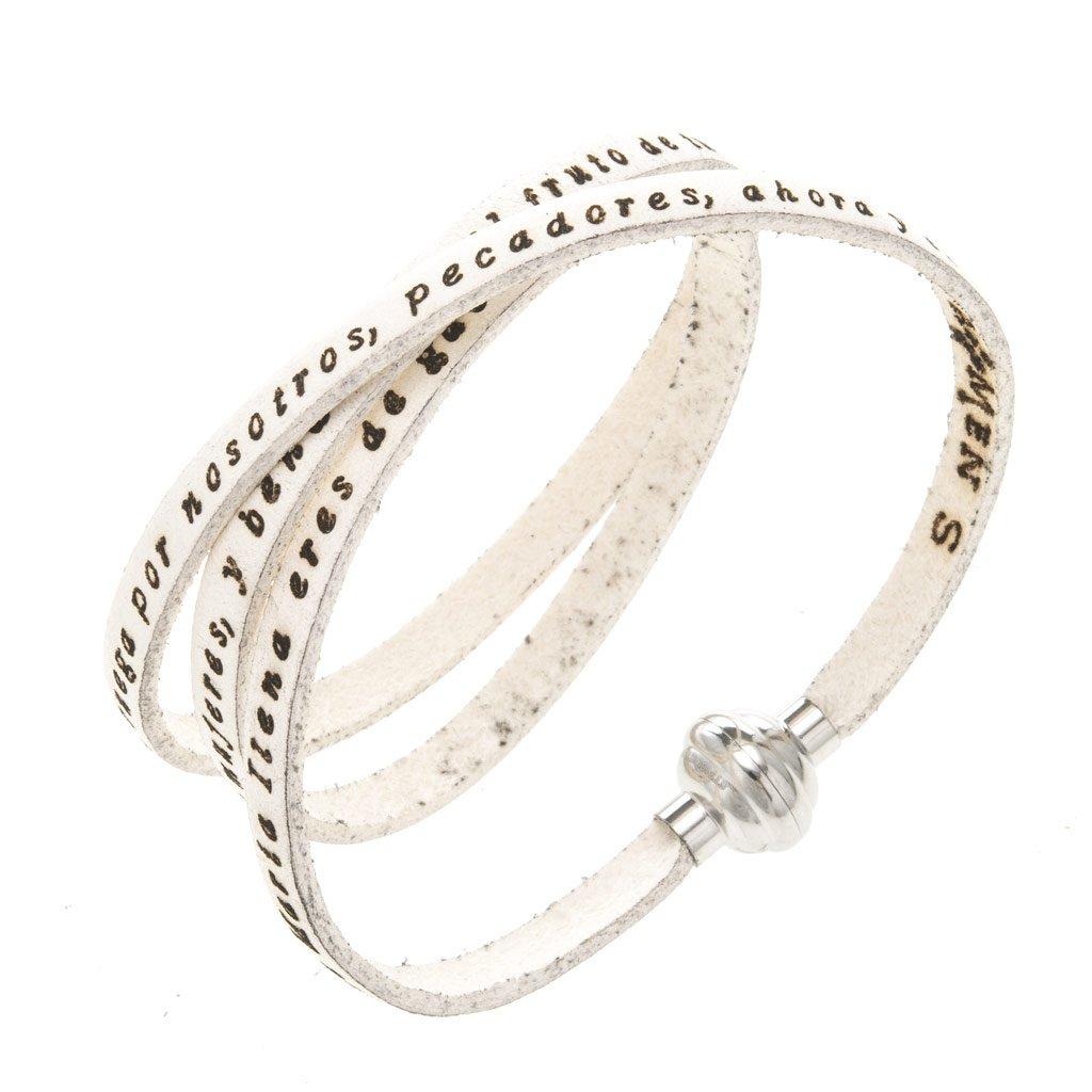 Amen Bracelet in white leather Hail Mary SPA, 60 cm (23.64 inc.)