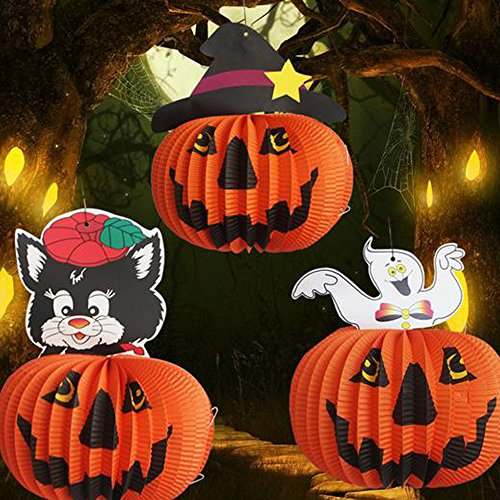 Dancepanda Halloween Paper Pumpkin Hanging Lanterns Decoration,Pack of 3