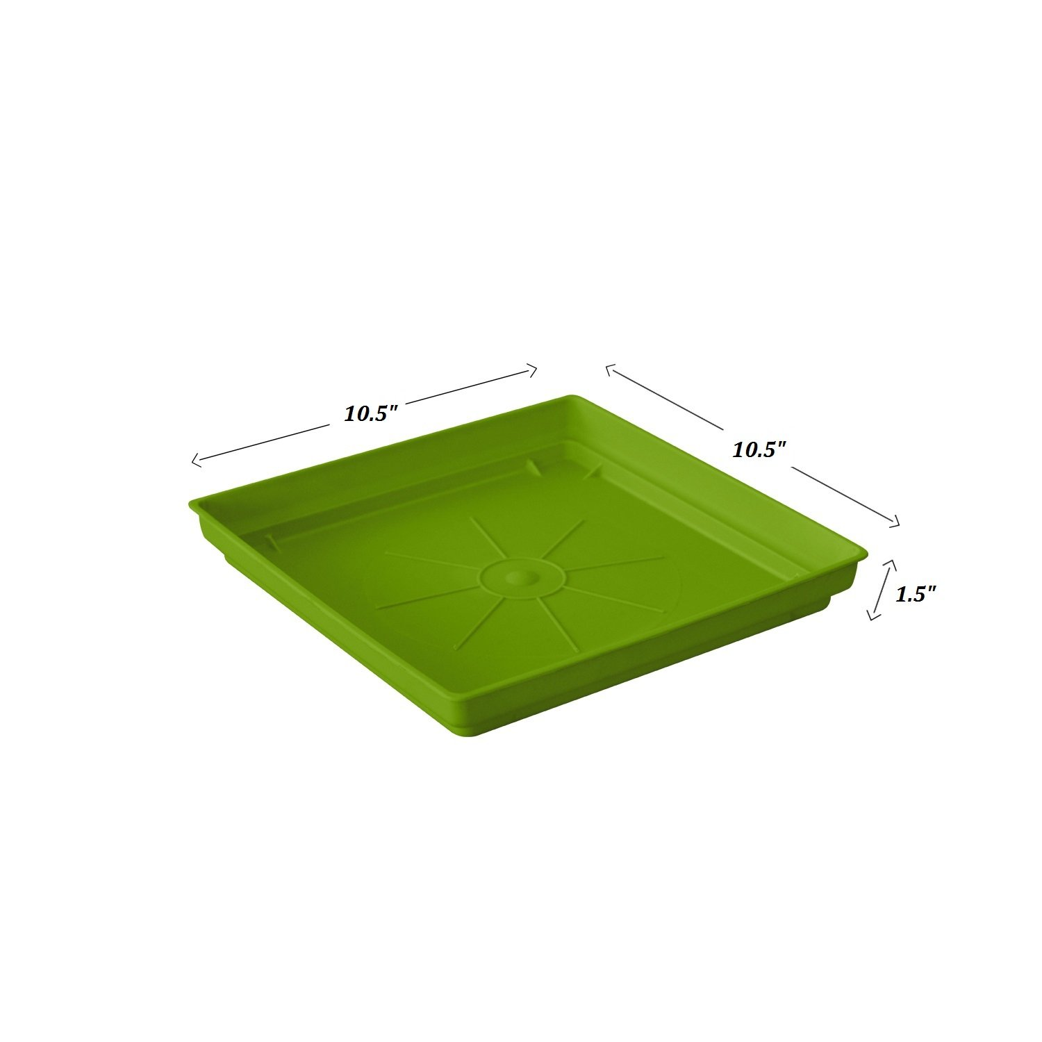 ALMI Plastic Accent Square Planter Drip Tray 10.5-Inch Ideal for 14-inch - For plants, Flowers, Pot, Indoor, Outdoor - Light Green