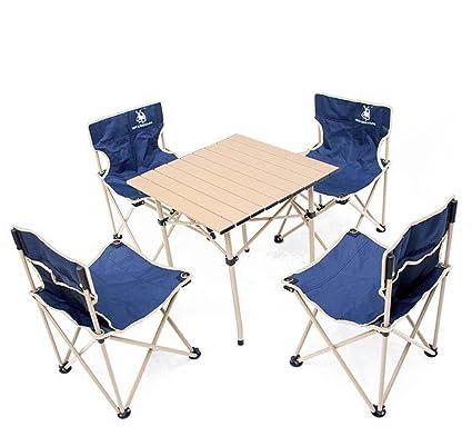 5 piezas sillas de mesa plegables portátiles, conjunto de silla de mesa plegable al aire