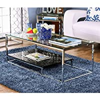 Furniture of America Deitie Modern Chrome Coffee Table Chrome/Black