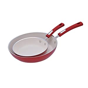 "Hamilton Beach HAF602 Fry Pan Set 8.5"" & 11"" Red Speckled"