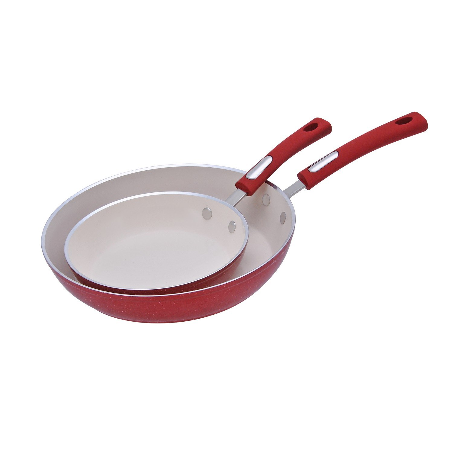 Hamilton Beach HAF602 Fry Pan Set, Non-Stick Fry Pan, 8.5'' & 11'', Red Speckled