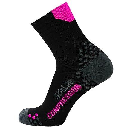 f60edff551f Pure Compression Running Socks – Anti-Blister Quarter Length Sport Socks –  Dot Padding Technology