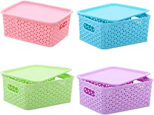 XIGUI 4 Pack Plastic Basket - Stackable Storage Bin Sets, Plastic Drawer Organizer Basket for Organization and Storage, Multicolor Pantry Organizing Bins for Bathroom Kitchen