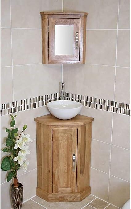 Solid Oak Bathroom Vanity Cabinet Cloakroom Corner Cabinets Basin Mirror 501cb025601 Amazon Co Uk Kitchen Home