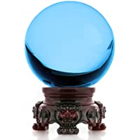 Amlong Crystal 3 inch (80mm) Aqua Crystal Ball with Redwood Lion Resin Stand and Gift Box for Decorative Ball, Lensball Photography, Gazing Divination or Feng Shui, and Fortune Telling Ball