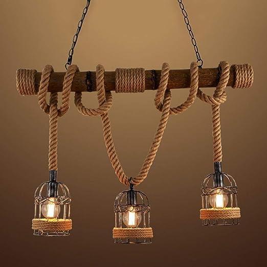 Ruanpu Cuerda Vintage Iluminación de techo Lámpara de techo Lámpara colgante Industrial E27 socket con Jaula Marco Decoración de madera para Interior ...