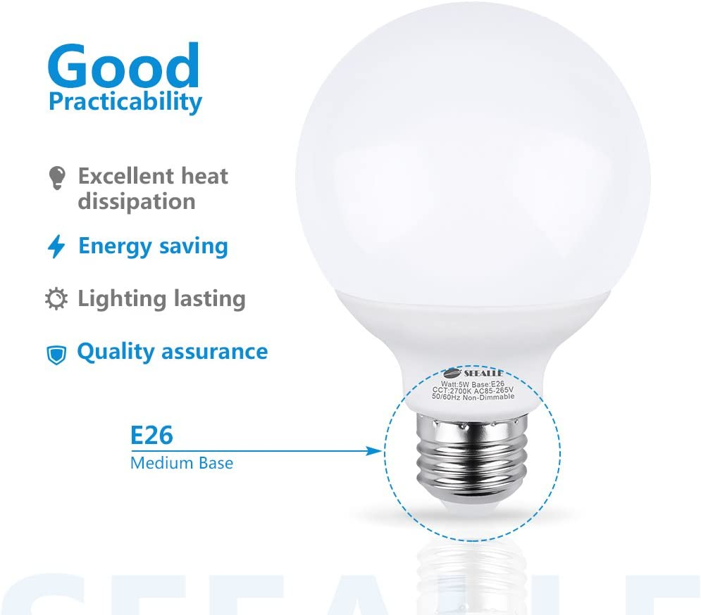 Medium E26 Base Non-Dimmable for Home Lighting 5 Watt Vanity Light Bulbs Pack of 4 G25 50W Incandescent Globe Bulbs Equivalent G25 E26 LED Bulbs 5000K Daylight White Makeup LED Light Bulbs