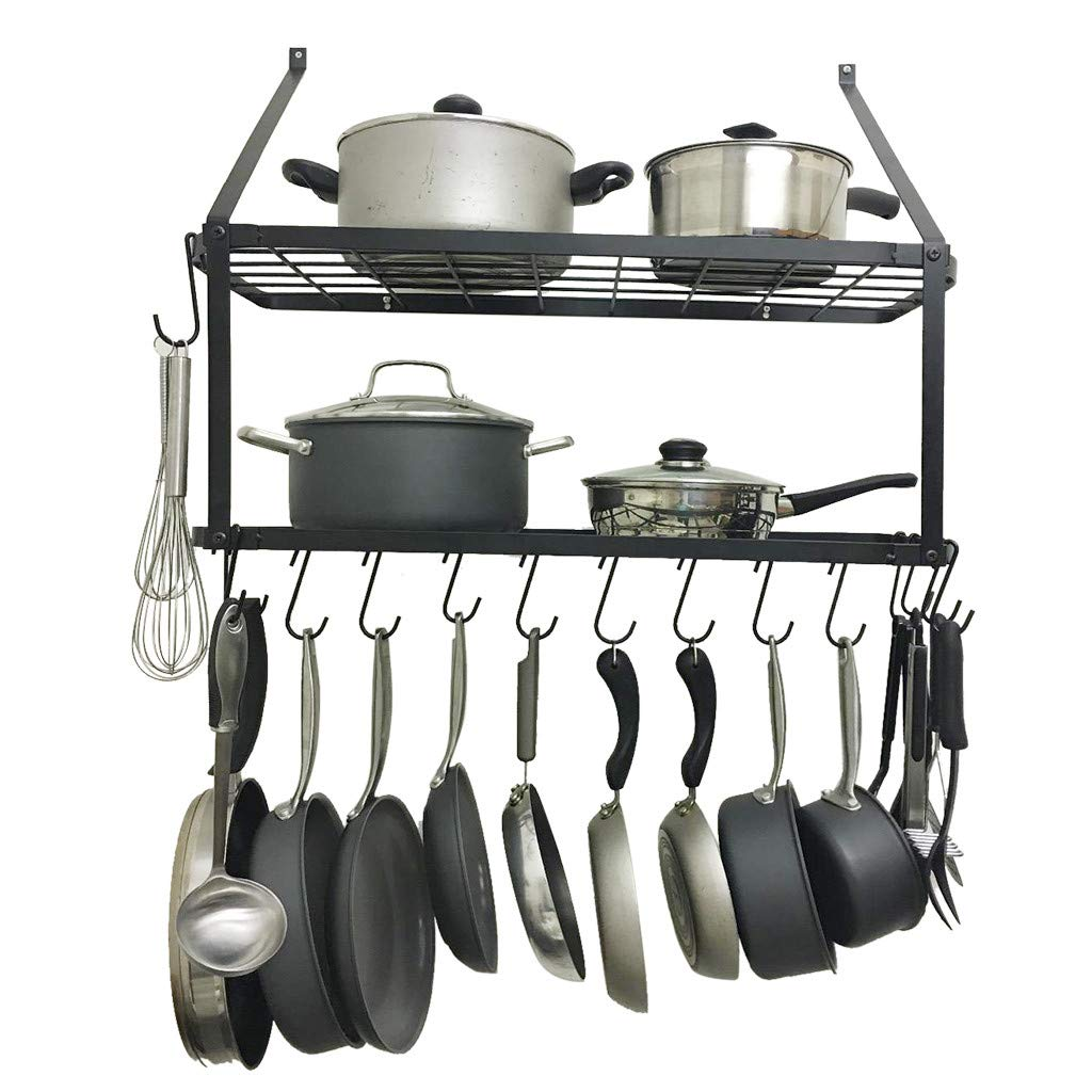 Wall Mounted Pot Rack with Shelf, Mosunx 2 Tire Pot Pan Organizer with 10 Hanging Hook, Kitchen Storage Pot Holder Pot Pan Rack, Pot Pan Stand (Black, 29.5'' L X 13.70'' W X 23.2'' H.)