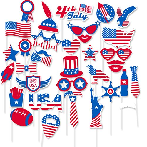FRIDAY NIGHT Patriotic Decorations 4th of July Photo Booth Props for Veterans Day, American Memorial Day President Day Patriotic Photo Booth Props Party Decorations Party Favors 36 Count
