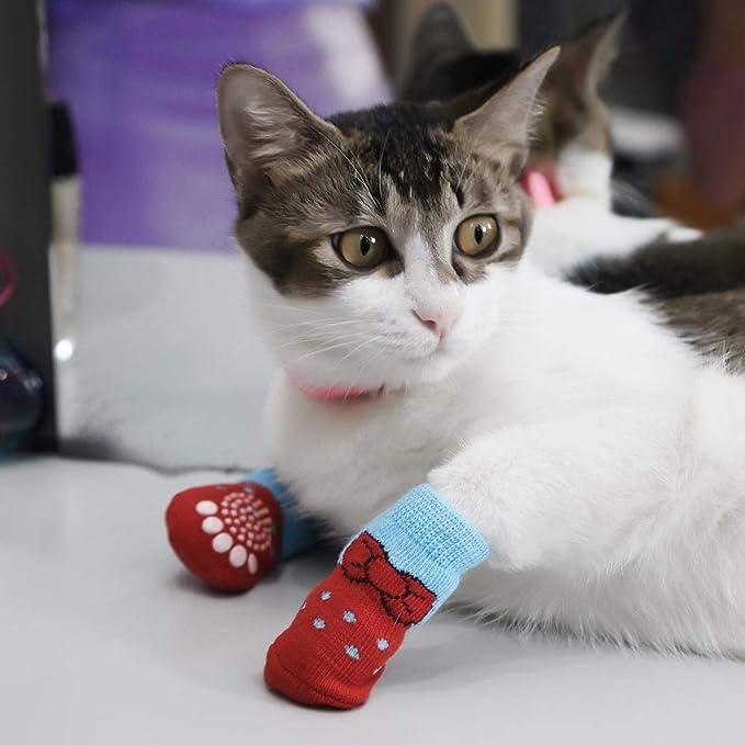 DULING Calcetines para Perros y Gatos,Calcetines de algodón para Mascotas, Funda Protectora de Pata Tejida de 2 Piezas,Azul Gris,S: Amazon.es: Hogar