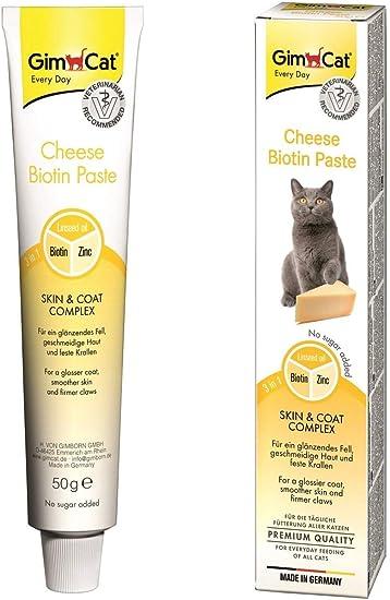 GimCat Cheese Biotin, Pasta de Queso con biotina - con Queso aromático, Zinc y Aceite de linaza para Pelaje, Piel y Garras - 1 Tubo (1 x 50 g): Amazon.es: Productos para mascotas