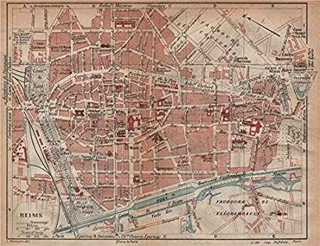 REIMS. Vintage town city map plan. Marne - 1920 - old antique ...