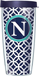 "Signature Tumblers""N"" Monogram Insignia Wrap on Navy and White Roundabout 22 Ounce Double-Walled Travel Tumbler Mug with Navy Blue Easy Sip Lid"