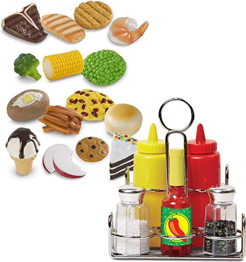 Melissa & Doug Bundle Includes 2 Items Food Fun Combine & Dine Dinners Toy, Blue Condiments Set (6 pcs) - Play Food, Stainless Steel Caddy