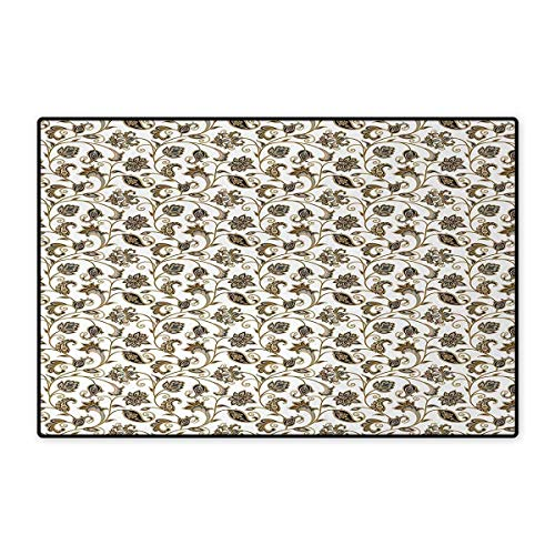 Arabic,Doormat,Oriental Culture Inspirations in Colorful Paisley Motifs with Leaves and Flowers,Bath Mats Carpet,Multicolor - Bookmark Arabic