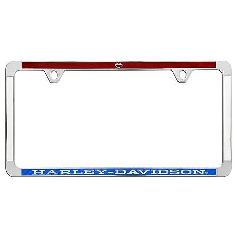 Harley Davidson todos los estados legal fino borde cromado con rojo, blanco y azul imitación