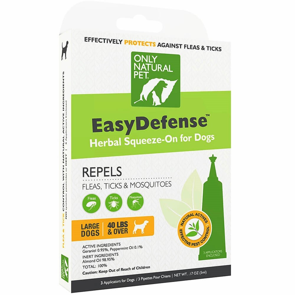 Only Natural Pet Flea and Tick Prevention for Large Breed Dogs (over 40 lbs) - EasyDefense Flea Remedy - Natural Flea Treatment Control Herbal Squeeze-On Drops - Three Month Supply by