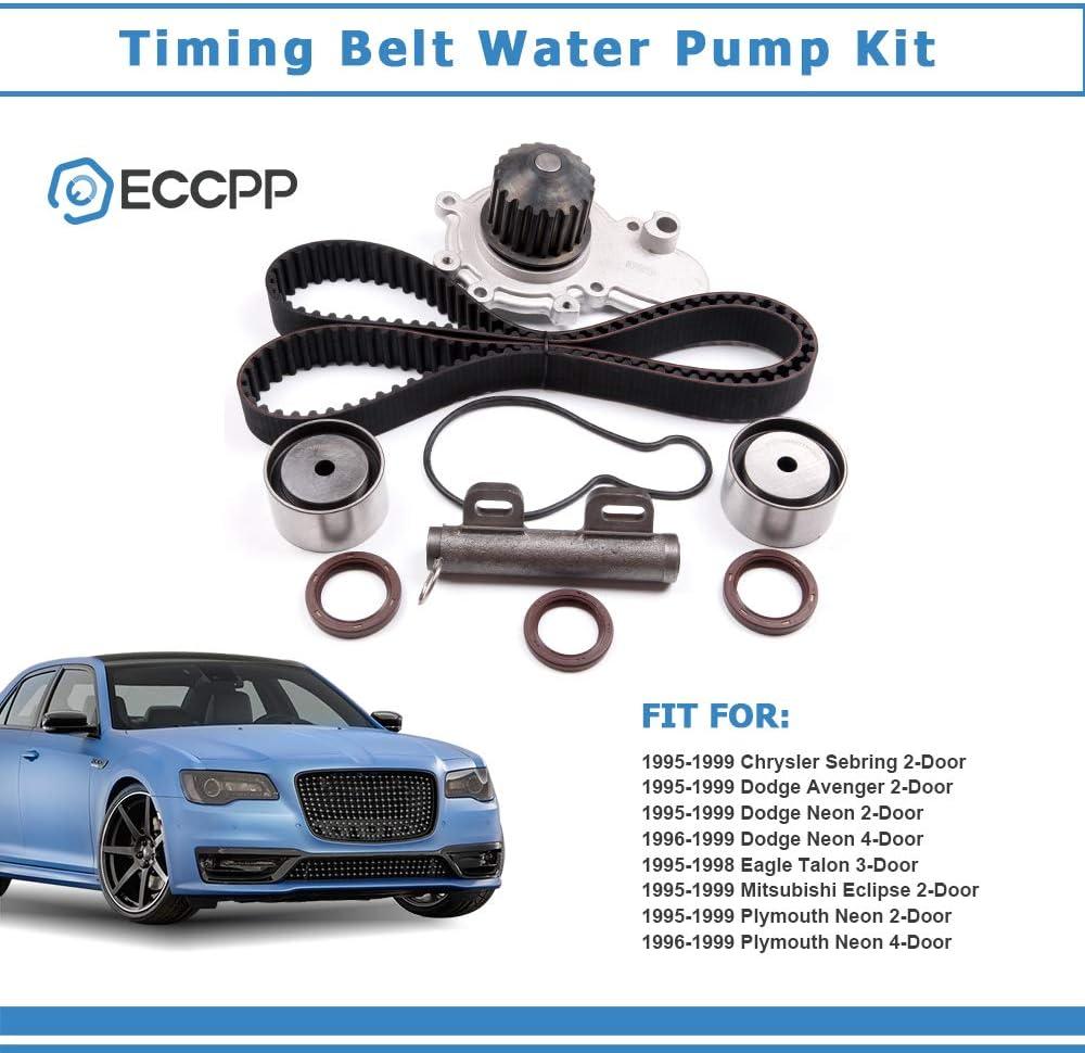 ECCPP Timing Belt Water Pump Kit Fit for 1995-1999 Chrysler Sebring Dodge Avenger//NEON Eagle Talon Mitsubishi Eclipse Plymouth NEON 2.0L 420A