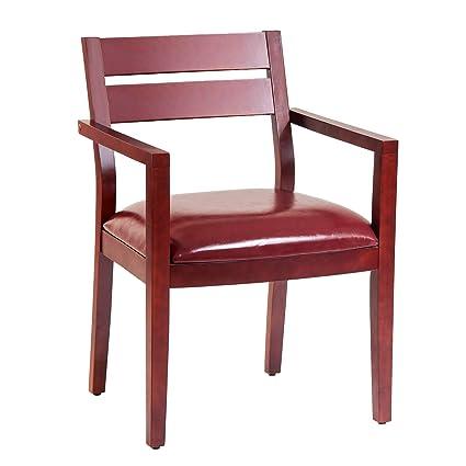 Silla de madera para invitados, asiento de piel, sillas de recepción ...
