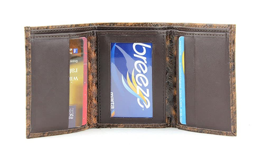Brown Embossed Ostrich Tri Fold Wallet