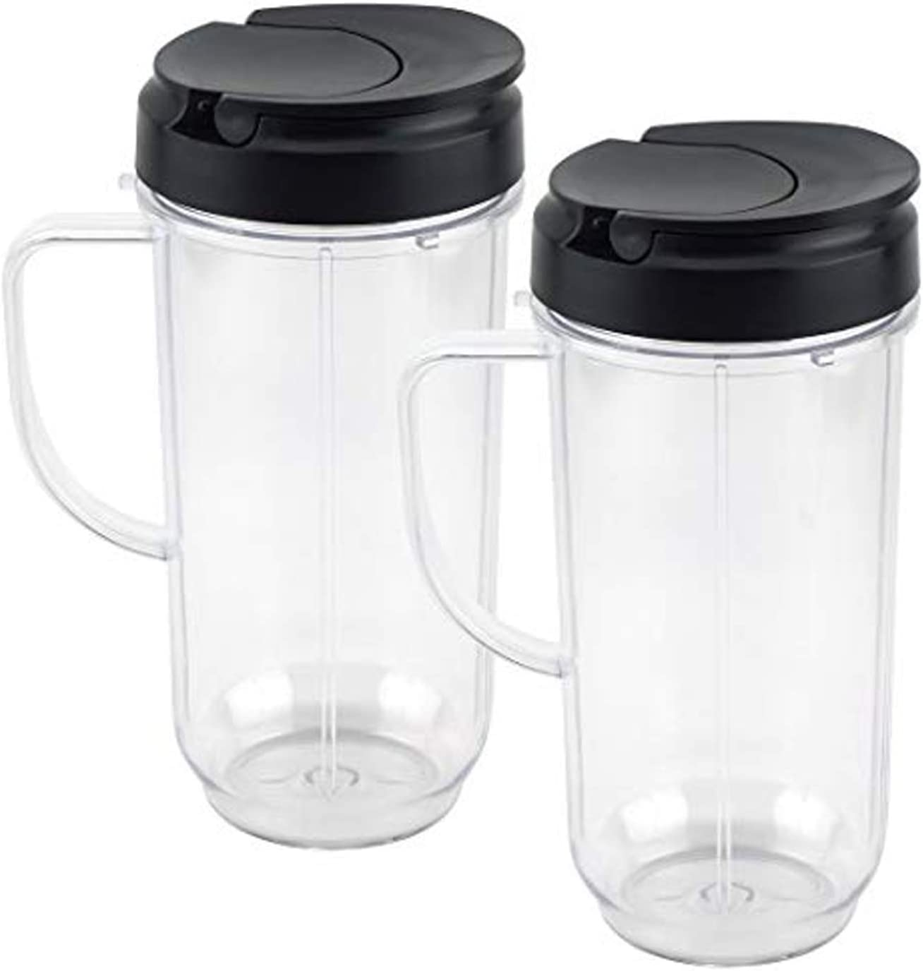 Tall 22oz Cup with Flip Top To-Go Lid Replacement Part Cup Mug with handle Compatible with 250w Magic.Bullet Mugs & Cups Blender Juicer Mixer by TOMOON, 2 Pack