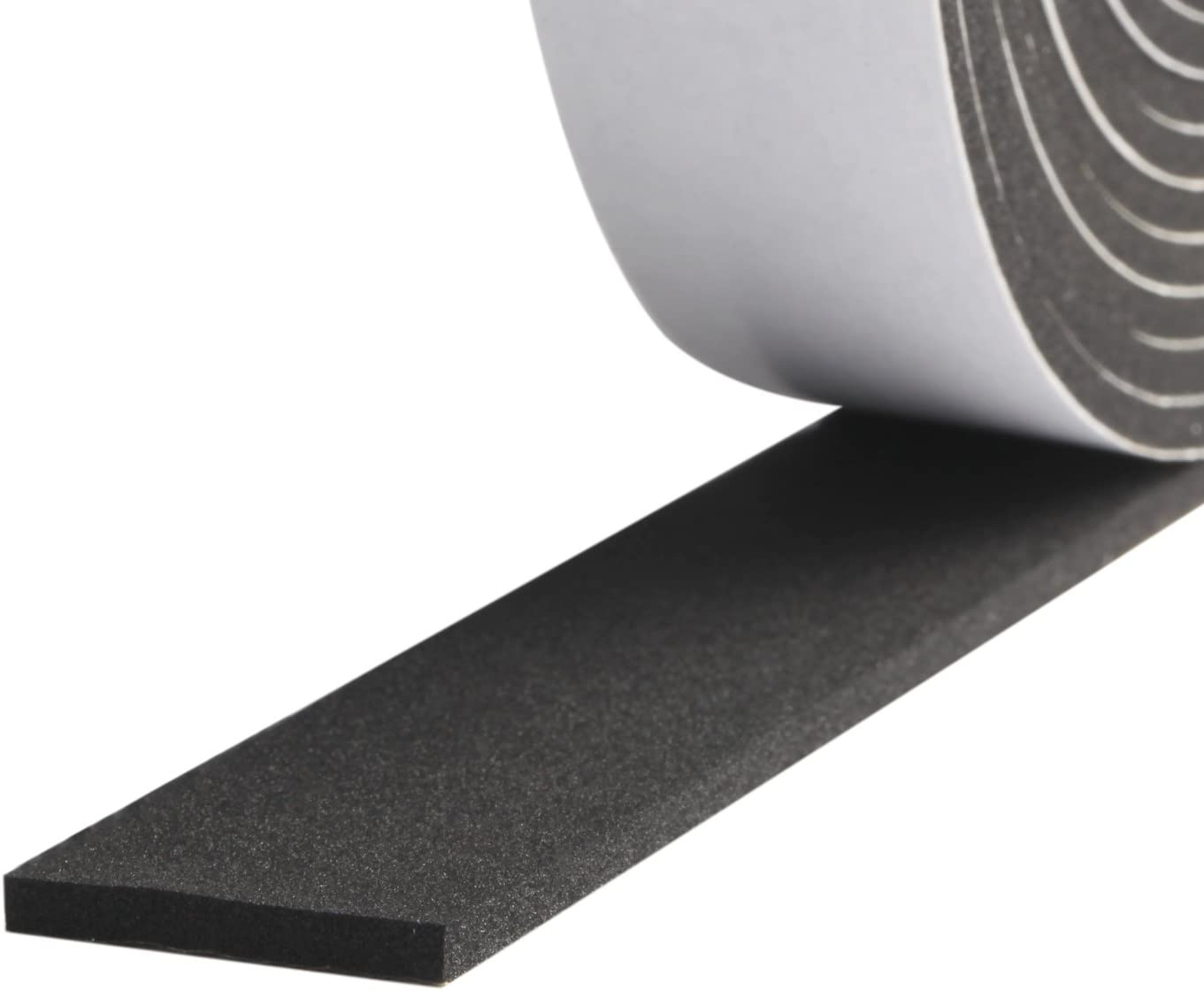 Foam Strips with Adhesive-2 Rolls, 1 Inch Wide X 1/8 Inch Thick High Density Soundproofing Door Insulation AC Unit Weather Seal Total 33 Feet Long(16.5ft x 2 Rolls)