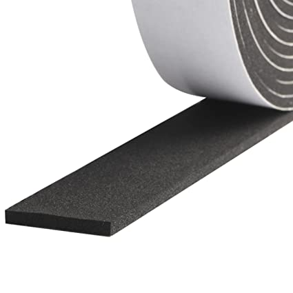 Foam Strips with Adhesive, High Density Soundproofing Window Insulation  Foam Gasket Tape Weather Strip 1 Inch Wide X 1/8 Inch Thick X 33 Feet Long