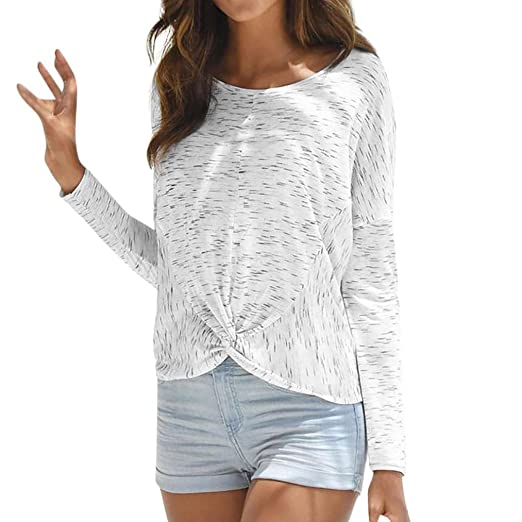 abd5e34b07af0a Longra Women Autumn Fashion Long Sleeve Printed O Neck T-Shirt Loose Blouse  Casual Tops Female Pretty White Shirts at Amazon Women's Clothing store: