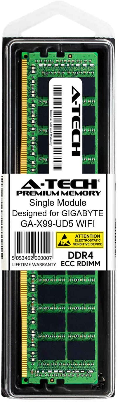 DDR4 PC4-21300 2666Mhz ECC Registered RDIMM 1rx8 Server Memory Ram A-Tech 8GB Module for GIGABYTE GA-X99-UD5 WiFi AT385440SRV-X1R13