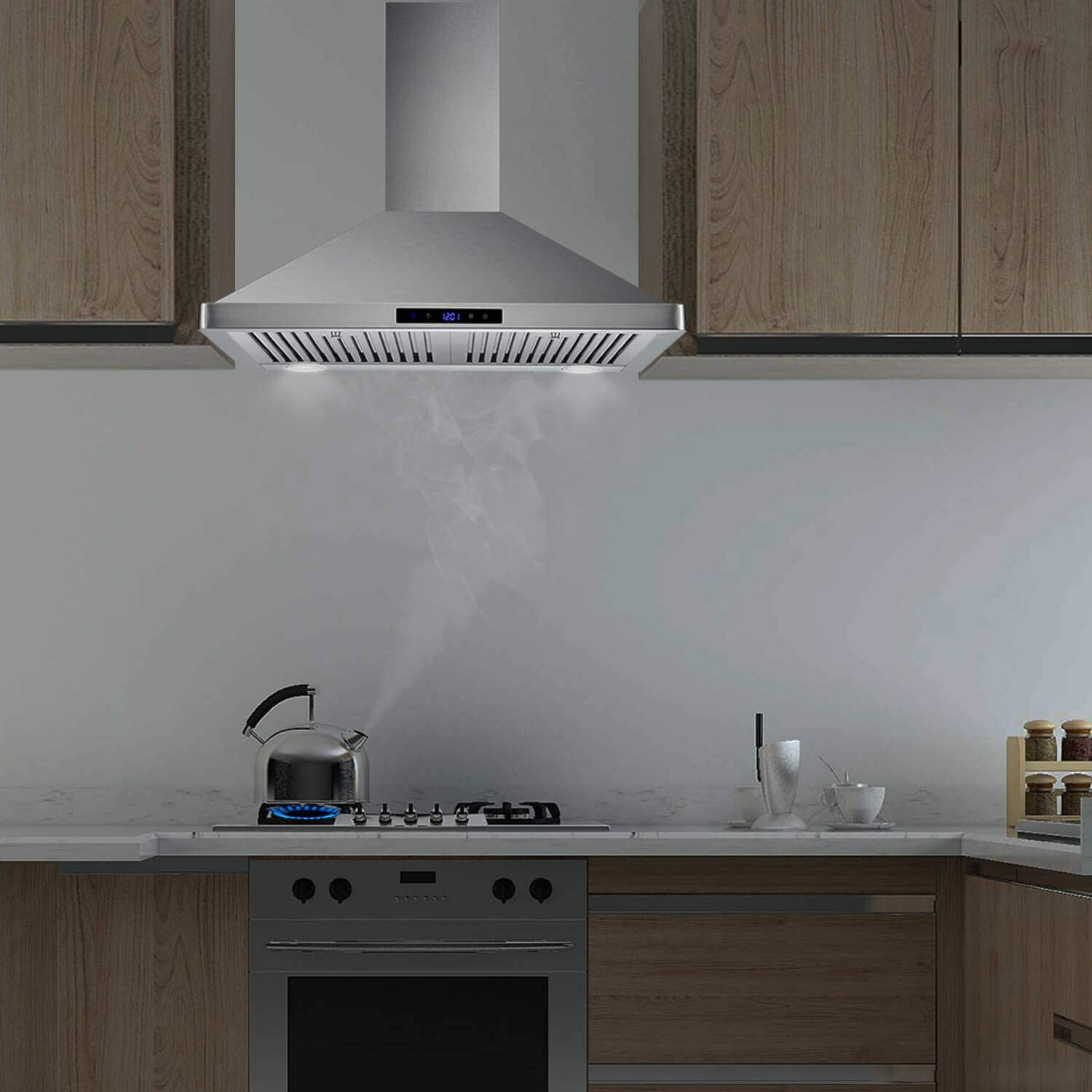 Wall Mount Range Hood 30 inch Kitchen Hood 700 CFM with Touch Control Permanent Filters Stainless Steel 3 Speed Exhaust Fan LED Light Tieasy