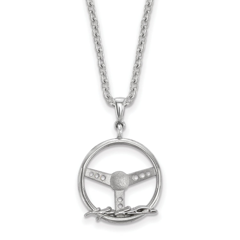 Ss volante w/conductor nombre w/18'Cadena de plata Ss volante w/conductor nombre w/18'Cadena de plata LogoArt NAS00211PC