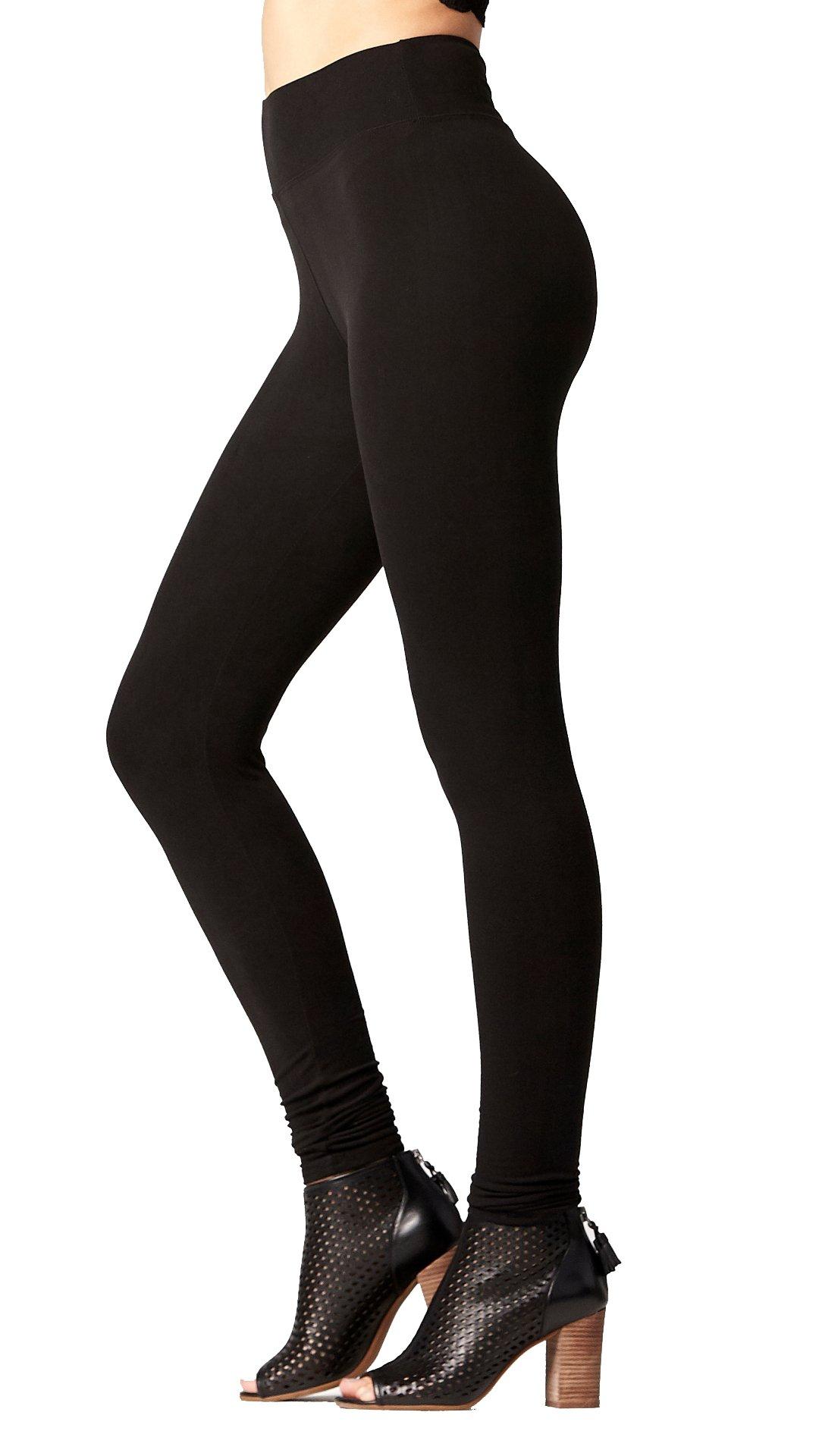 Premium Ultra Soft High Waist Leggings for Women - Full Length Midnight Black - X-Small/Small / Medium