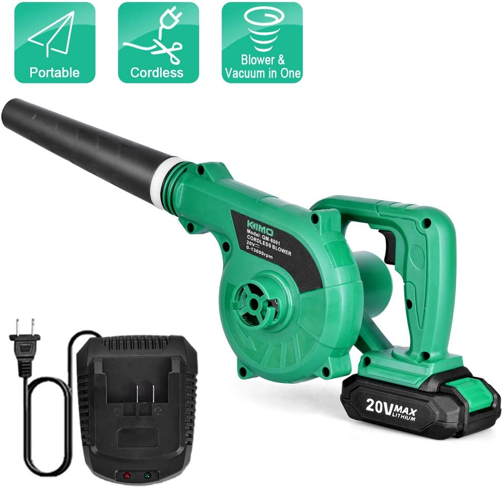 Cordless Leaf Blower – KIMO 20V Lithium 2-in-1 Sweeper Vacuum 2.0 AH Battery for Blowing Leaf, Clearing Dust Small Trash,Car, Computer Host,Hard to Clean Corner