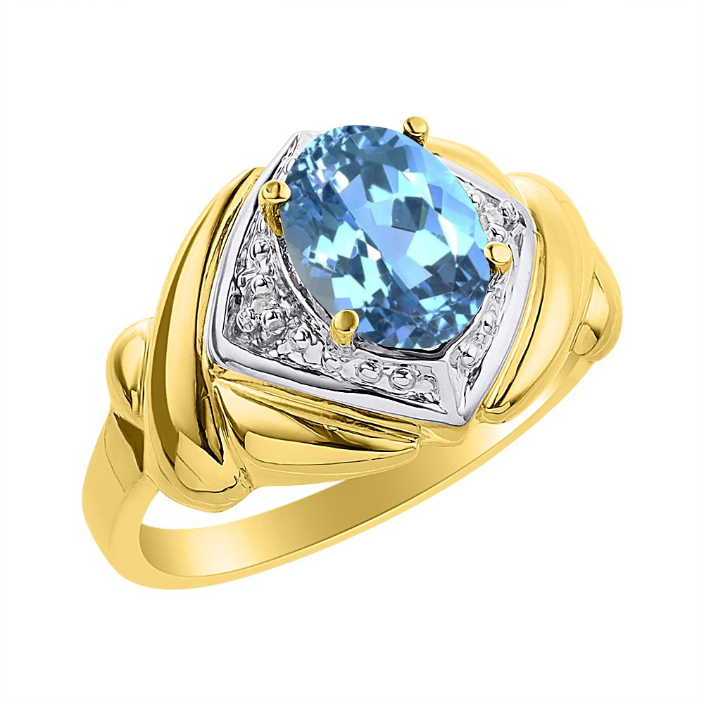 Color Stone Birthstone Ring Diamond /& Blue Topaz Ring Set In Yellow Gold Plated Silver XO Hugs /& Kisses