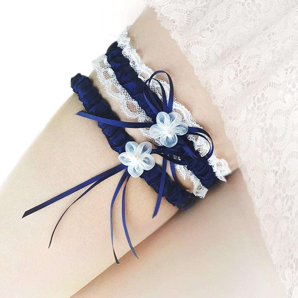 wei/ß Western Style Hochzeit Strumpfhalter Braut Pailletten Bridal Zubeh/ör 2/Spitze Bridal Strumpfband