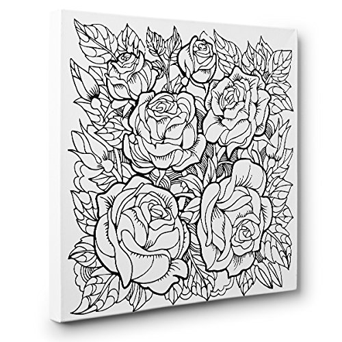 Roses Art Therapy Coloring Canvas Home Decor