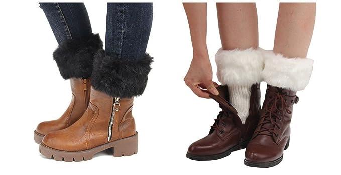 pero no vulgar zapatos de otoño gran venta Calcetines calentadores para mujer, de Esenfa, de punto, con parte superior  en pelo sintético, suaves, 2 pares