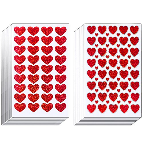 Resinta 60 Sheets Glitter Heart Stickers Valentine's day Love Decorative Sticker for Scrapbooking or Embellishment (Red Heart)]()