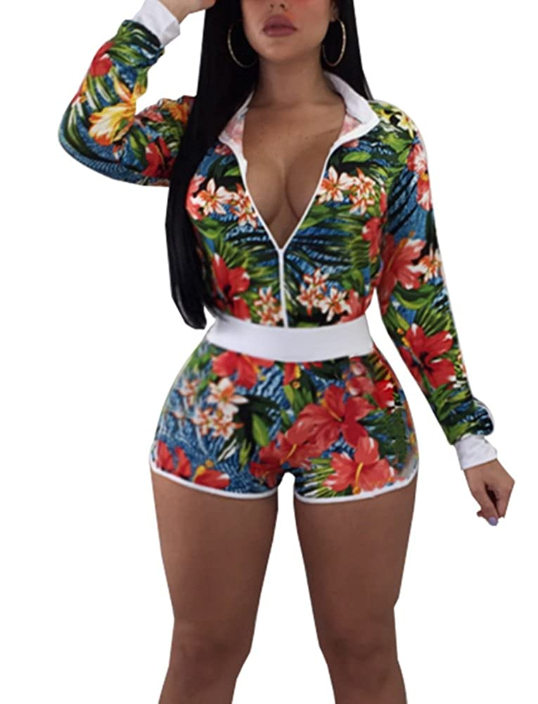 66ecaf645b8e Amazon.com: Women's Floral 2 Pieces Outfit - Long Sleeve Jacket + Shorts Set  Rompers: Clothing