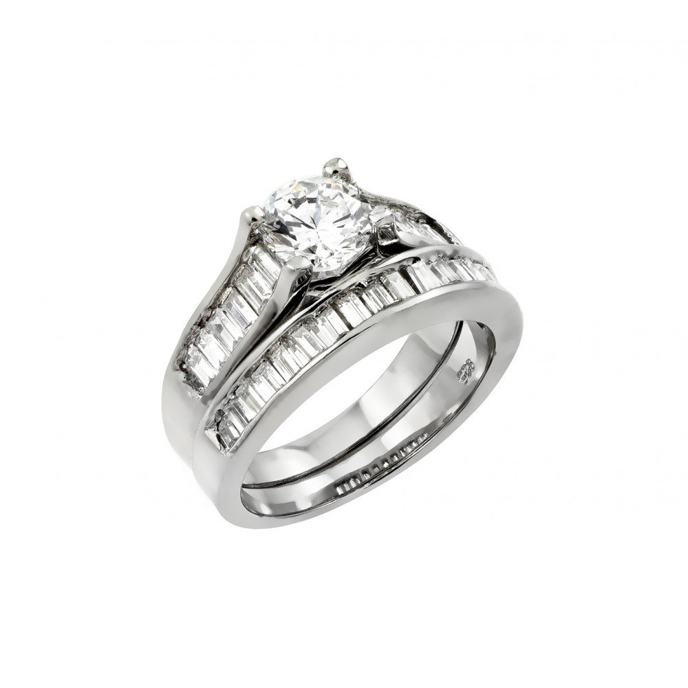 Princess Kylie Round Center Baguette Cubic Zirconia Channel Set Pair Set Bridal Ring Sterling Silver