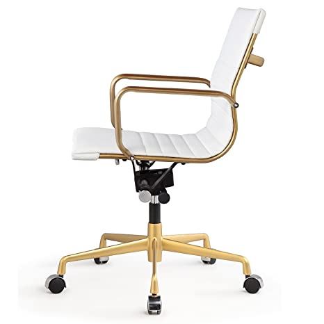 amazoncom meelano 348gdwhi office chair in vegan leather goldwhite kitchen u0026 dining - Leather Office Chairs